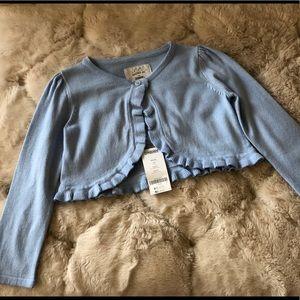 NWT Light Blue Ruffle Cropped Cardigan XS (4)